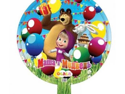 """Фольгированный шар """" Маша и миша с днем рождения"""""""